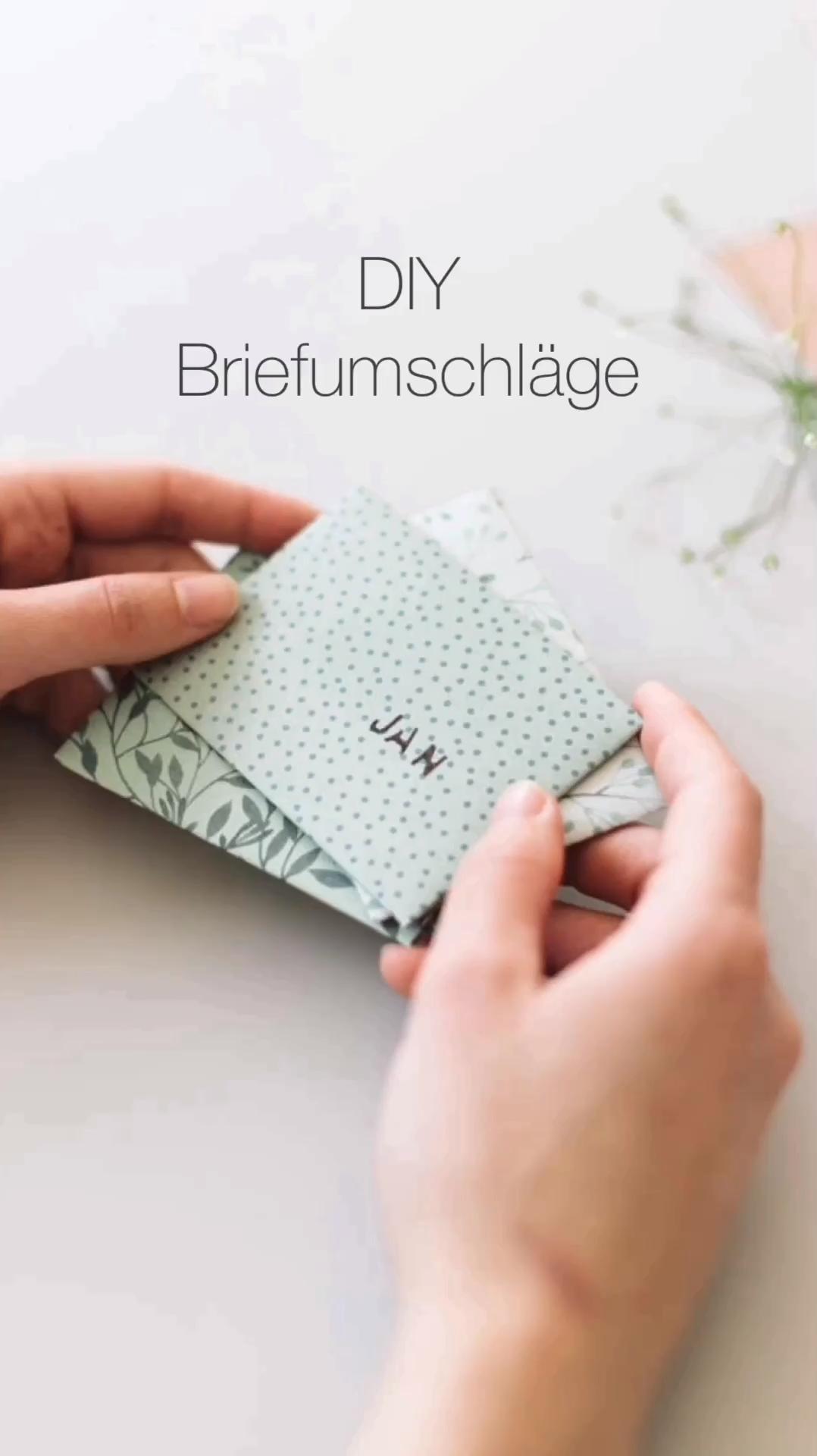 DIY Briefumschläge gefaltet - nicht geklebt #briefumschlagbasteln