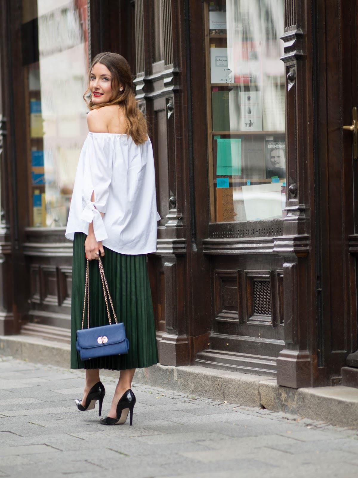 e2609bd5c3d15 green-plisses-skirt-zara-white-off-shoulder-blouse-zara-black-pointed-pumps- zara-blue-bag-golden-details-orsay
