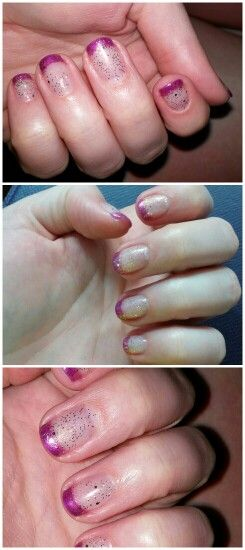 Shellac french mani, purple and gold.