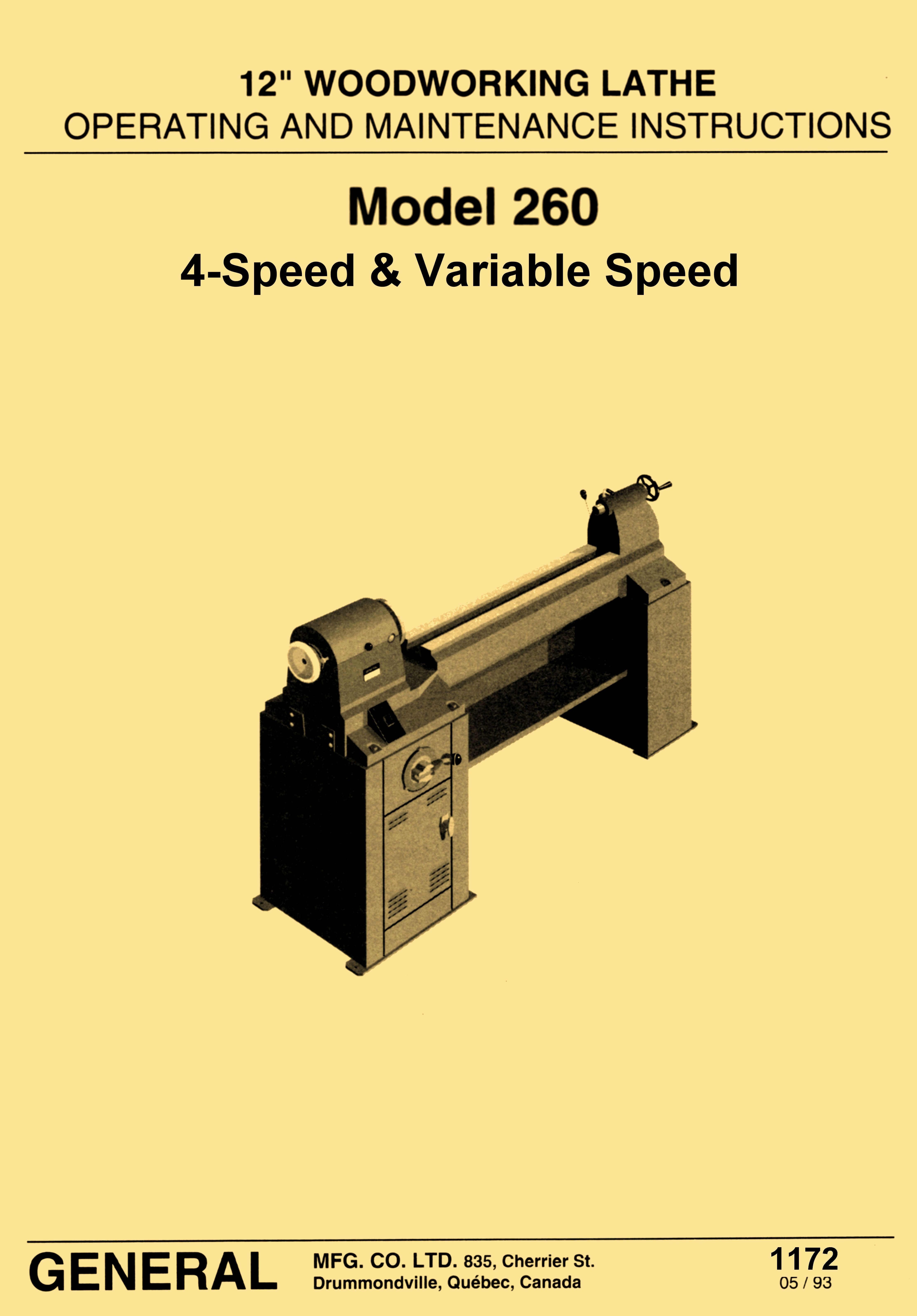 """General Model 260 12"""" Variable Speed Wood Lathe Operating & Parts Manual  - http"""