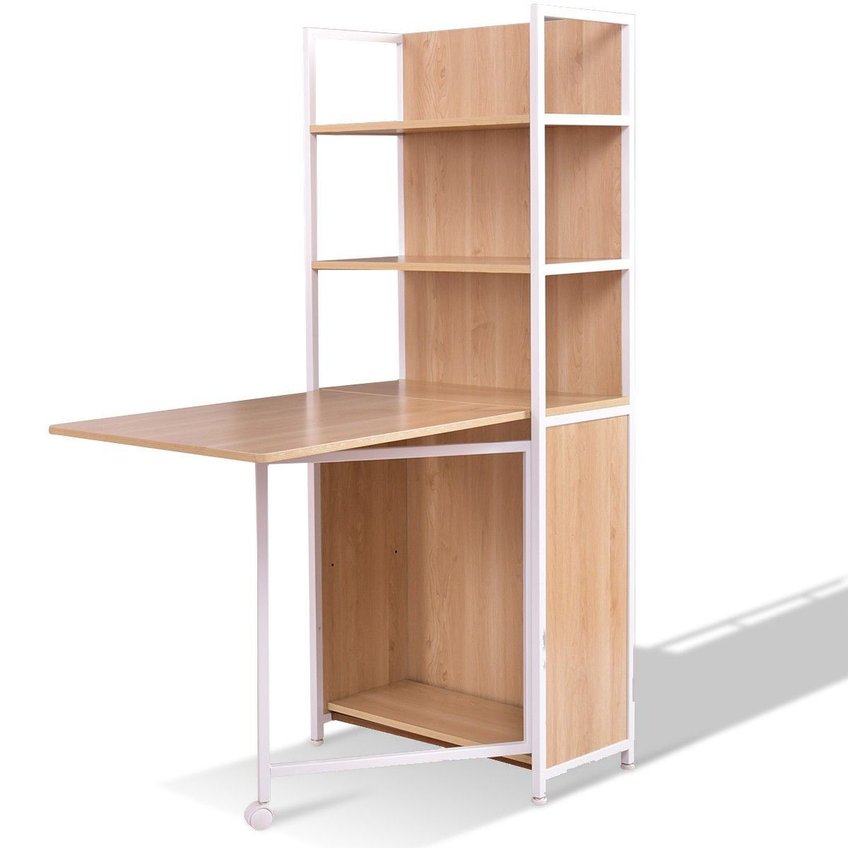 2-in-1 Folding Fold Out Convertible Desk With Cabinet