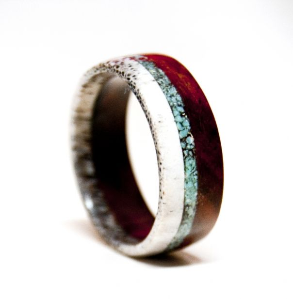 This is SO beautiful! Antler, turquoise, and iron wood, lined with titanium for durability. LOVE. I would wear this as a wedding band. $200