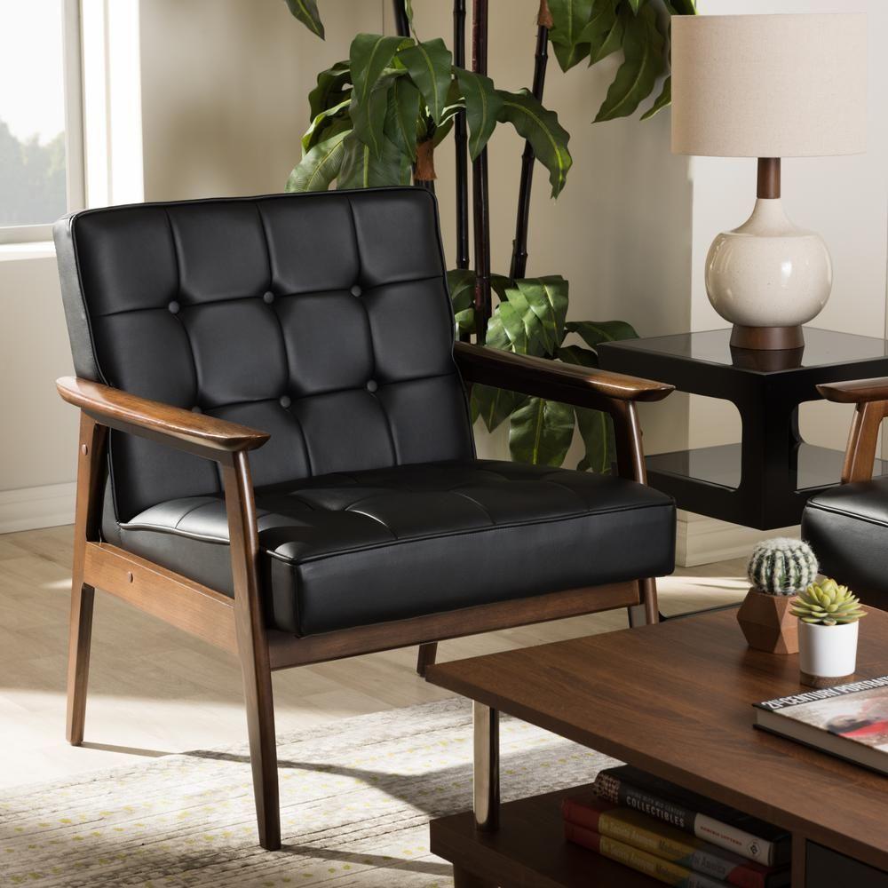 Baxton studio stratham black faux leather upholstered