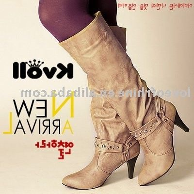 Wholesale X3720 New style 8cm buster apricot high heel knee lady's boots,stylish boots,designer boots, ...