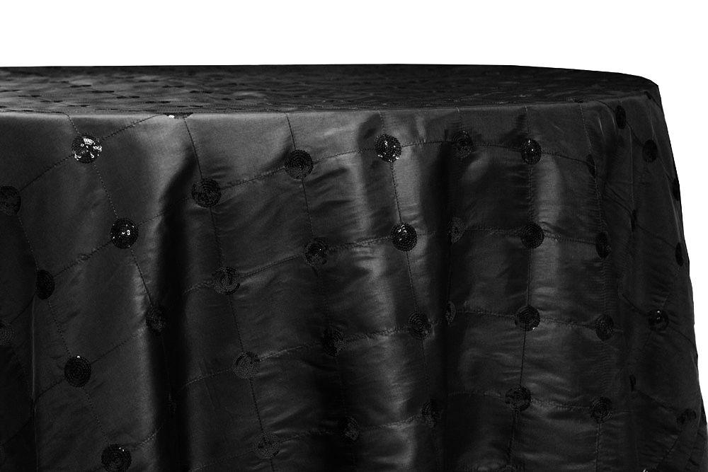 Sequin Embroidery Taffeta 120 Round Tablecloth Black Round