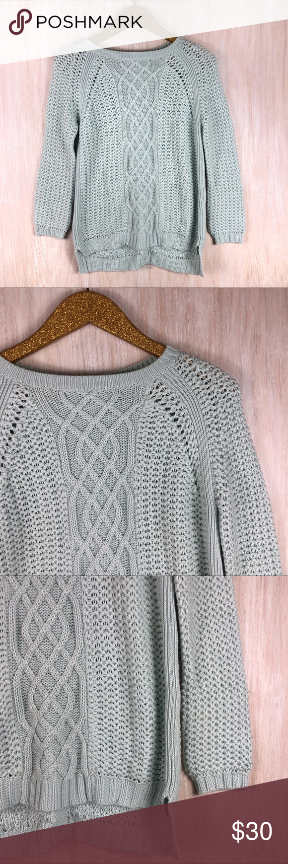 Zara Baby Blue Mix Chunky Knit Button Back Sweater Zara ...