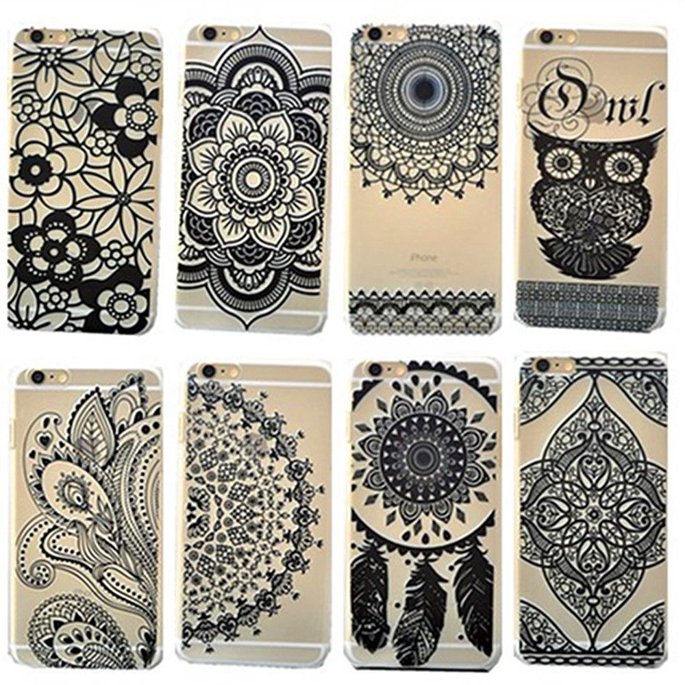 For iPhone SE 4S 5/5S 5C 6 6S 6 Plus Black Flower Henna Mandala Matte Hard Case #UnbrandedGeneric