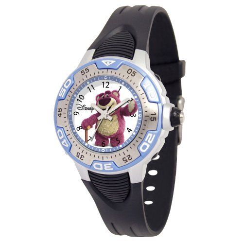 "Ewatchfactory Kids' 50917-H-1 Disney Toy Story 3 ""Huggin Bear"" Blue Spectrum Watch Ewatchfactory. $27.99. Textured plastic strap. Disney toy story 3 character on the dial; 1-year limited warranty. Japan movement. Durable mineral crystal. Water-resistant to 33 feet (10 M)"