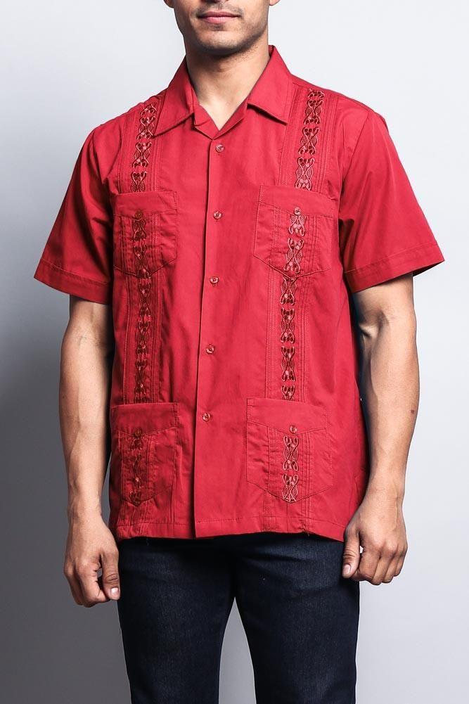 e00461f5dcb Upgrade your warm-weather wardrobe with this Cuban style guayabera shirt  detailed with embroidery going down both sides. - 65% Polyester