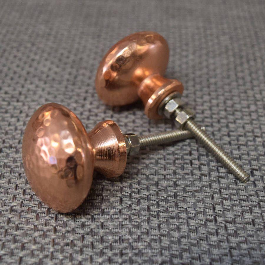 Copper And Silver Hammered Cupboard Door Knobs | Tiradores, Cobre y ...
