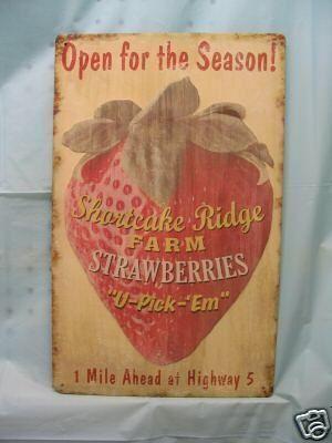 Strawberry farm vintage look metal sign kitchen decor | Kitchen ...