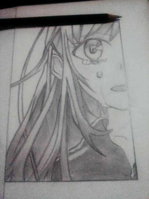 Anime Crying Sketsa