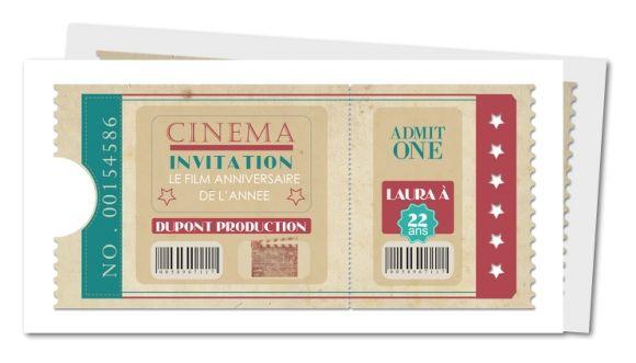carte et invitation anniversaire mariage th¨me cinéma enfant carte
