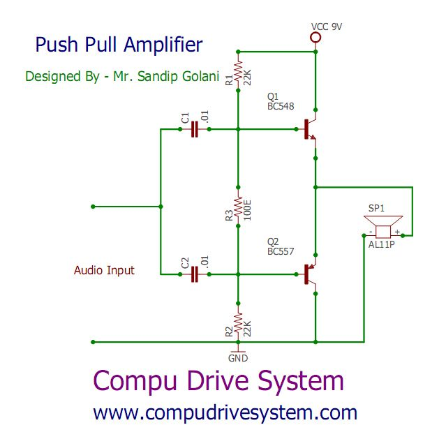 push pull audio amplifier a combination of a npn and a pnp rh pinterest com