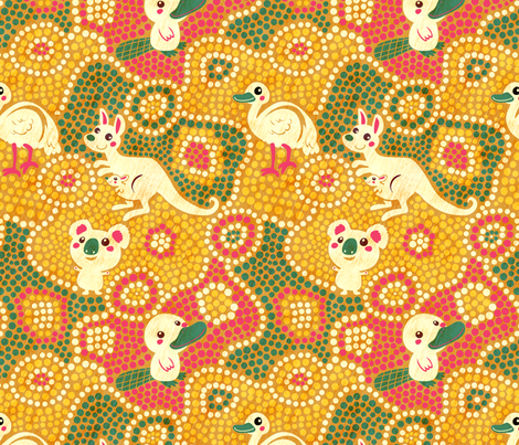 Australia Animals   yellow fabric by irrimiri on Spoonflower - custom fabric