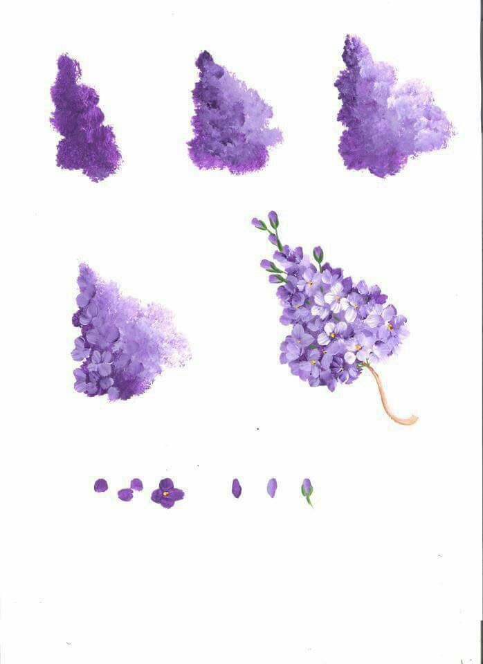 Step By Step How To Paint Purple Lilac Flowers Flower Painting Acrylic Painting Techniques Flower Art