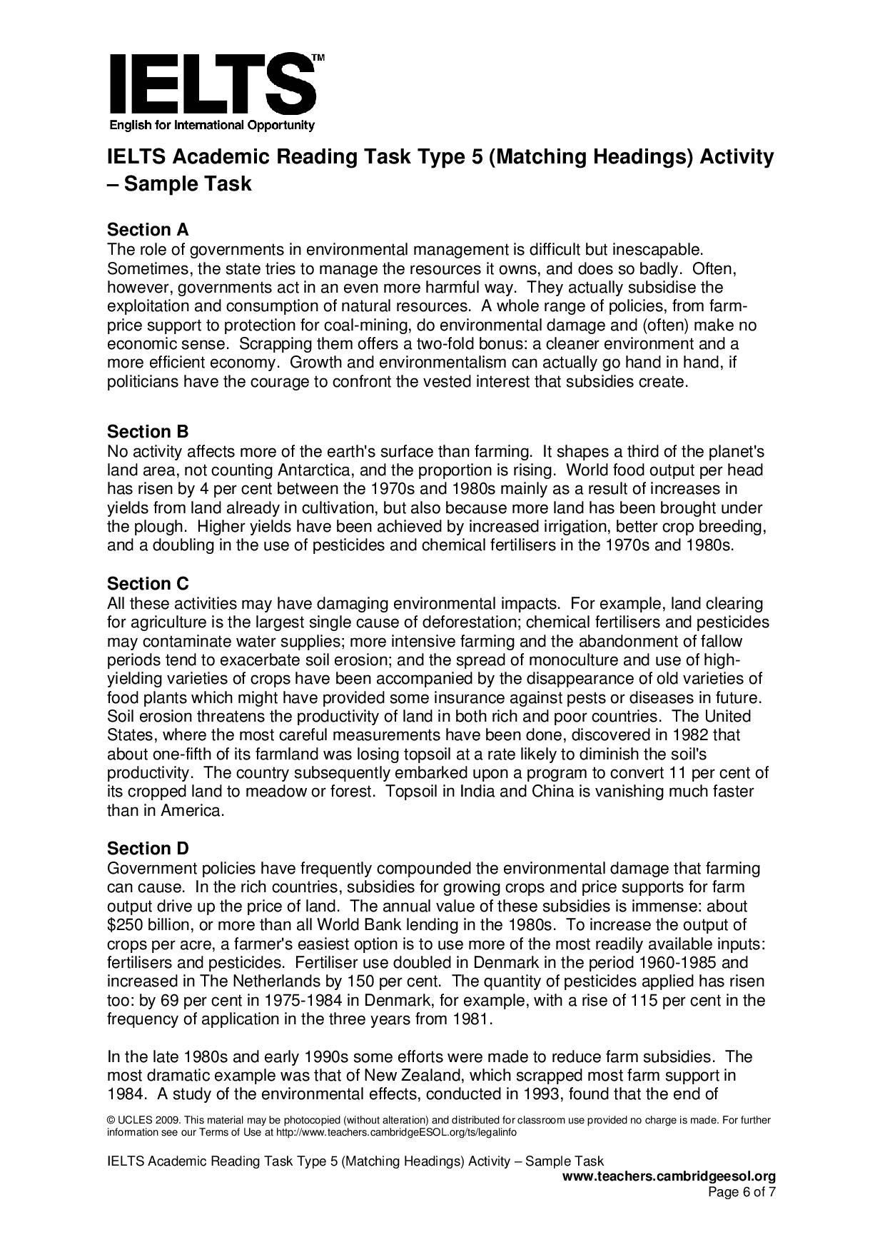 ielts academic reading task type 5  matching headings