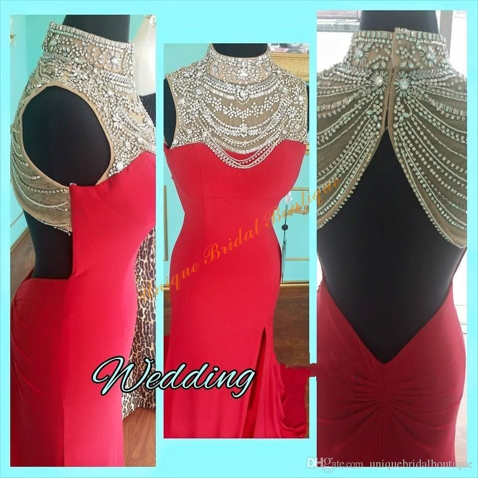 high split prom dresses real picture with beaded high collar