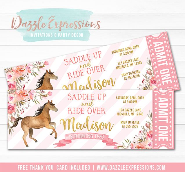 Printable pink and gold horse ticket birthday invitation girls printable pink and gold horse ticket birthday invitation girls floral watercolor design pony rides filmwisefo Choice Image