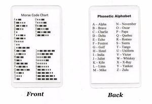 A Morse Code Chart Phonetic Alphabet Pocket Card Military