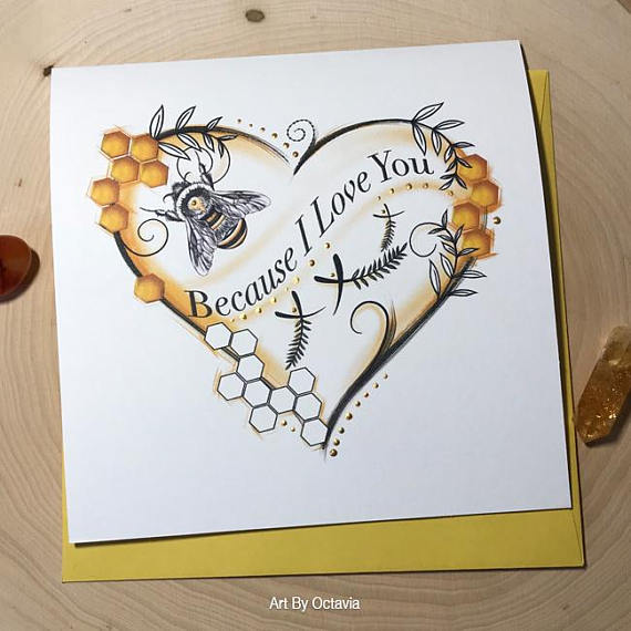 Bee greeting card because i love you valentines day card bee card bee greeting card because i love you valentines day card bee card love card bee gift card love birthday card anniversary card m4hsunfo