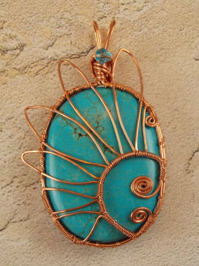 Turquoise Floral Copper Wire Wrapped Pendant by ~natureswrapture ...