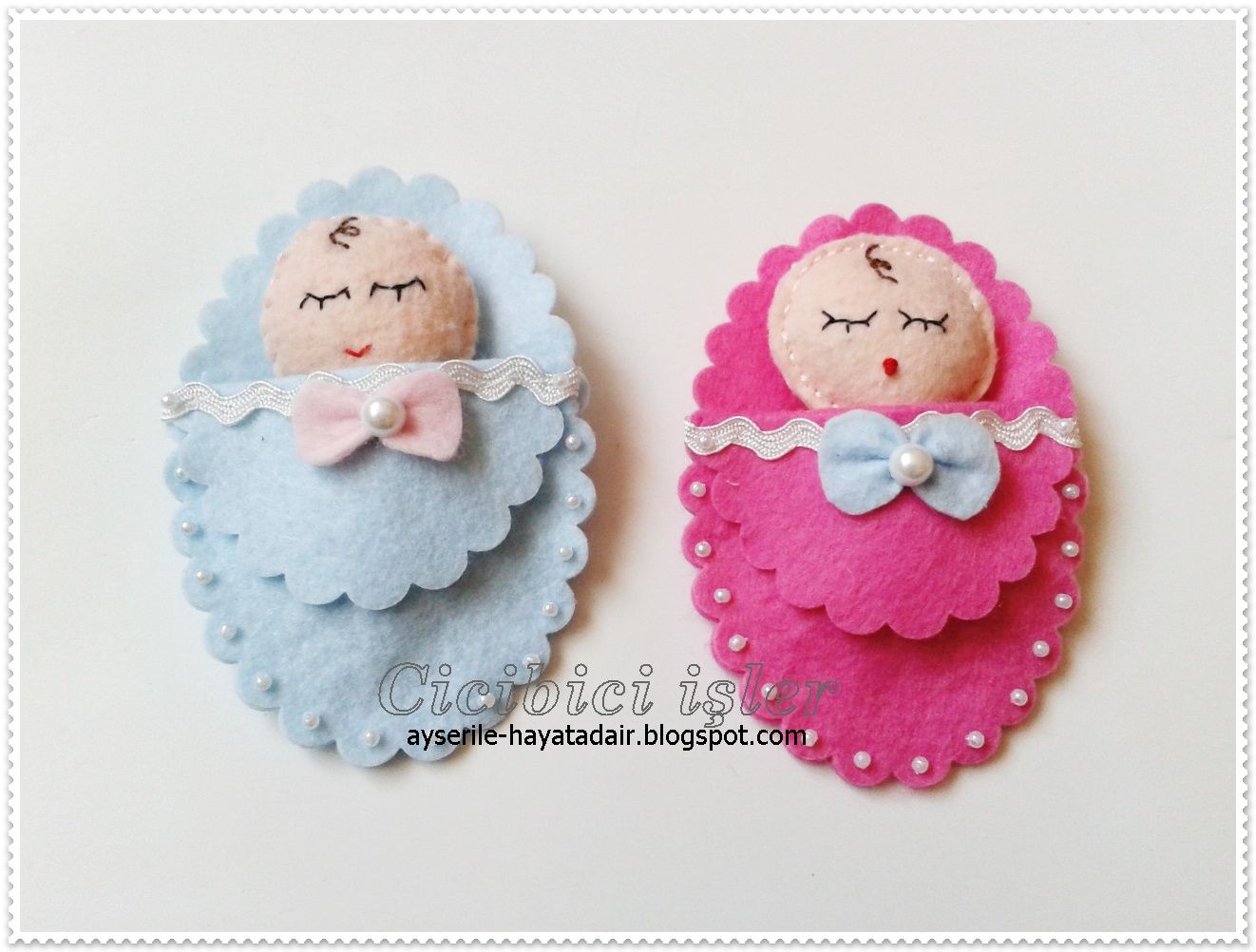 felt babies would look cute on a new born card, site has other cute things made with felt