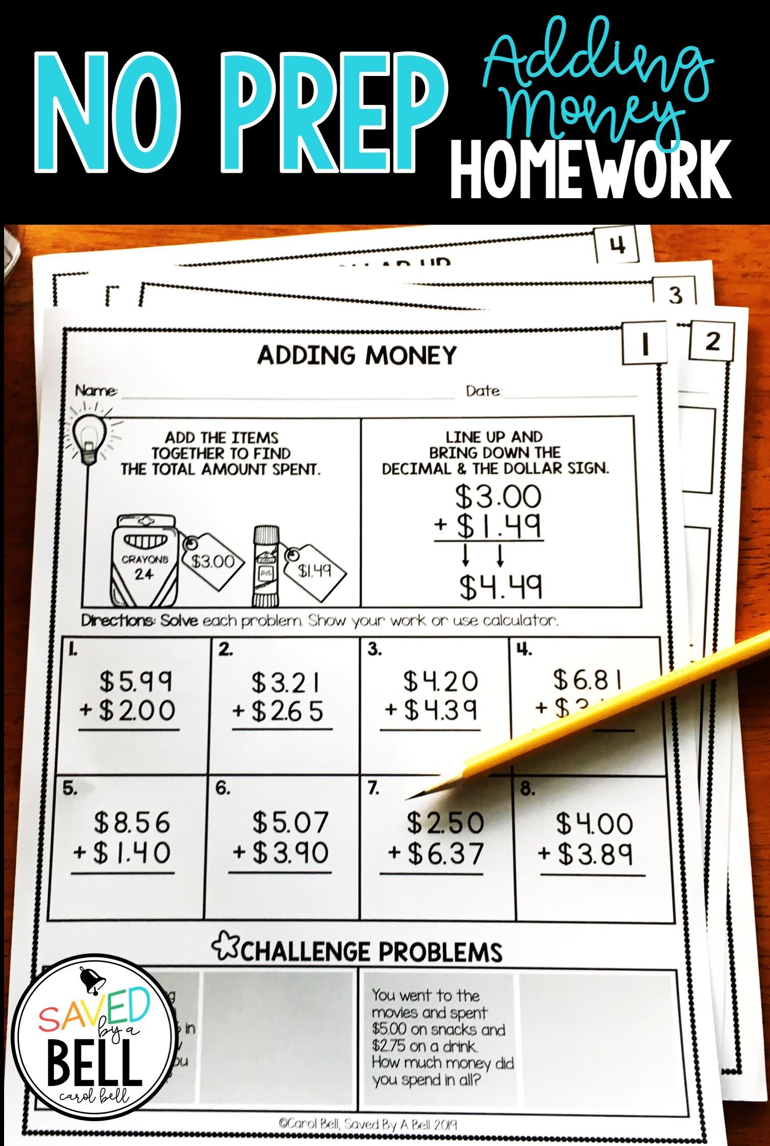 Addition Money Worksheets