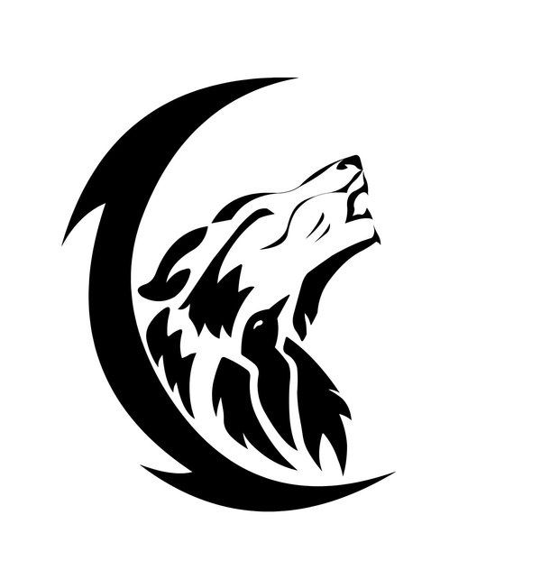 Black Crescent Moon And Tribal Wolf Howl Tattoos Ideas And