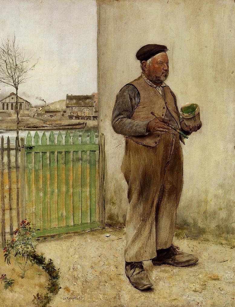 Jean-Francois Raffaelli  (France, 1850-1924) – Bonhomme venant de peindre sa barrière (1881)