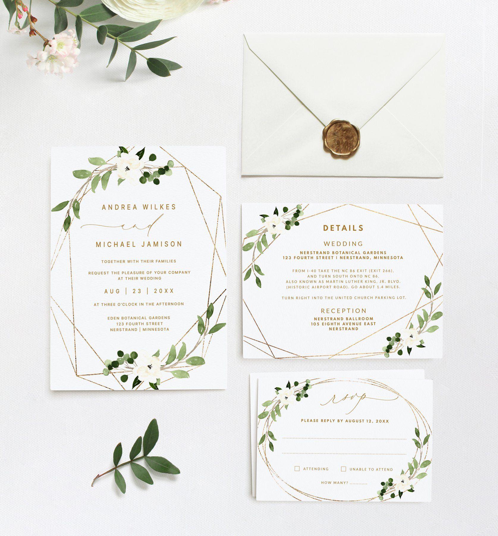 Wedding Invitation Template Suite Set  5 x 5  Geometric Greenery