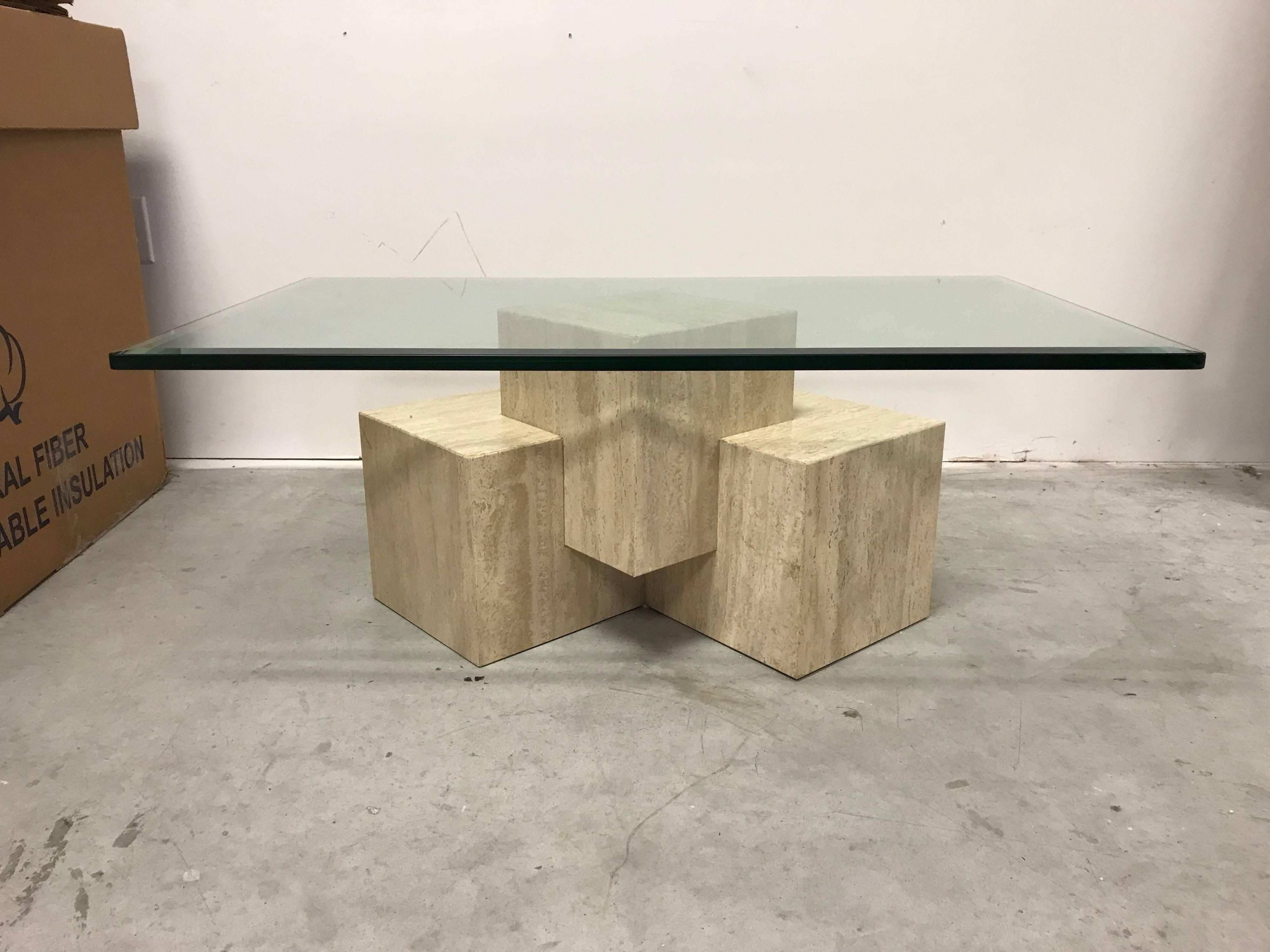 1970s Guy Barker For Ello Travertine Cube Coffee Table With Glass