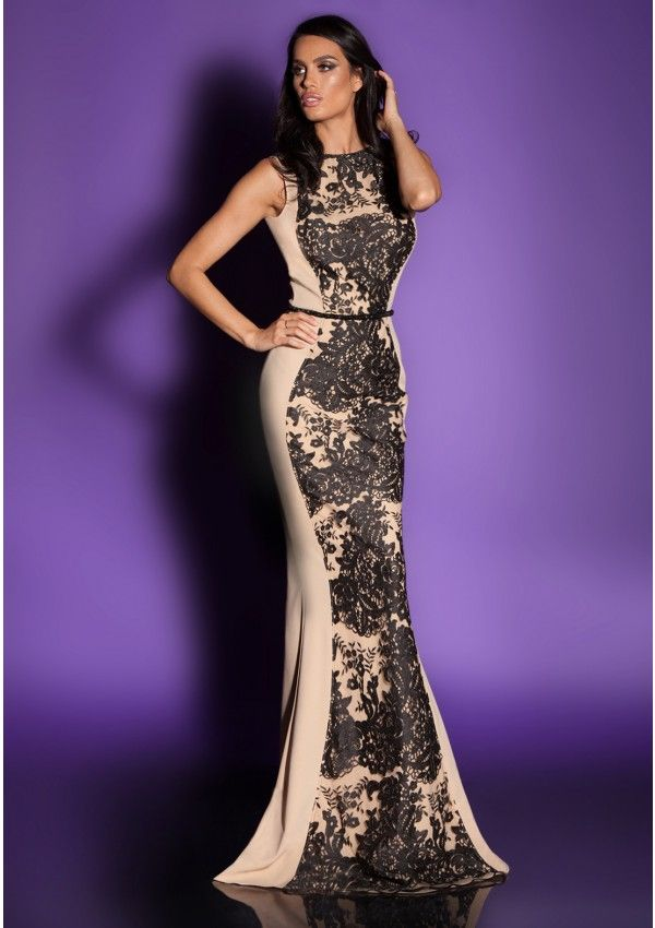 Open back crepe and lace dress with body-shaping effect Long ...
