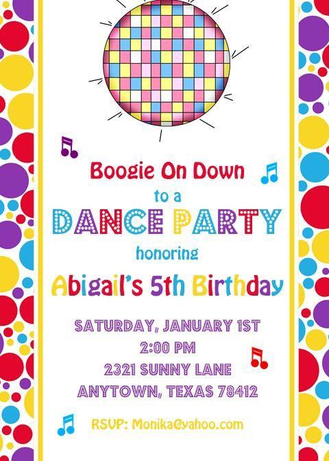 dance party birthday invitations 1 00 via etsy birthdays in