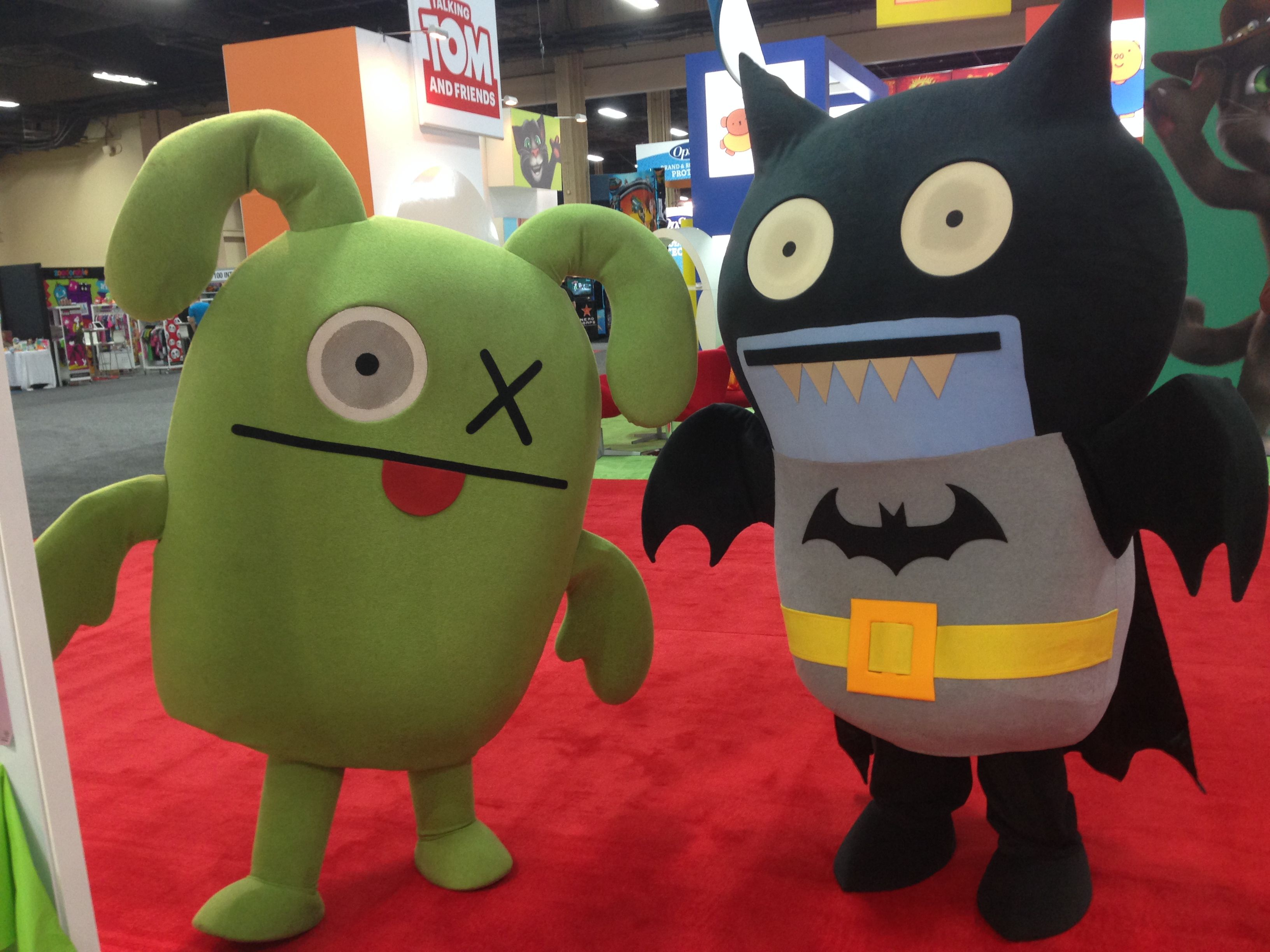 Ox and icebat welcoming booth visitors batman licensing show
