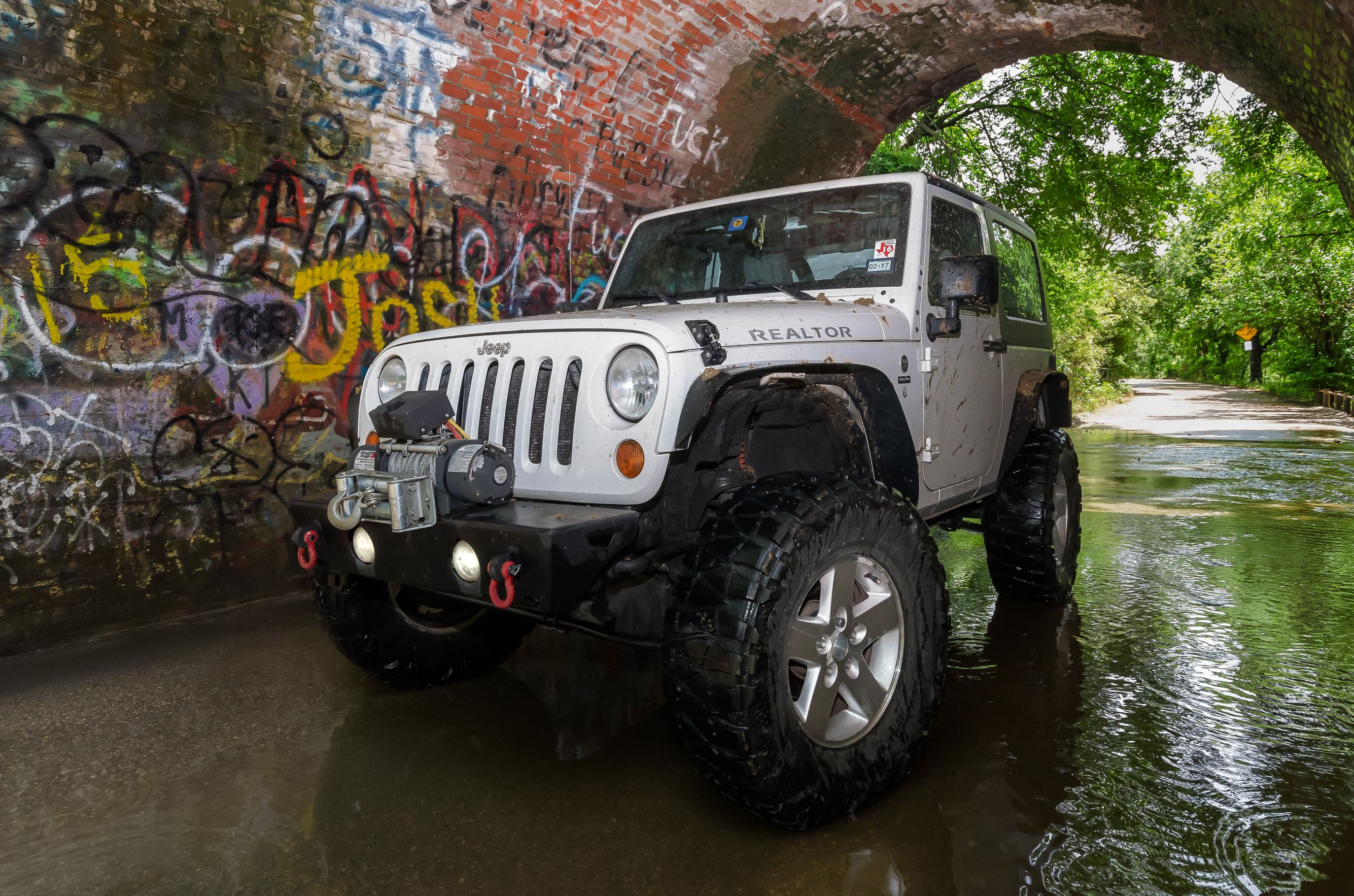 """In the """"Mouse Hole """" Jeep JK Rubicon on Moab 17 inch wheels with 3 5"""