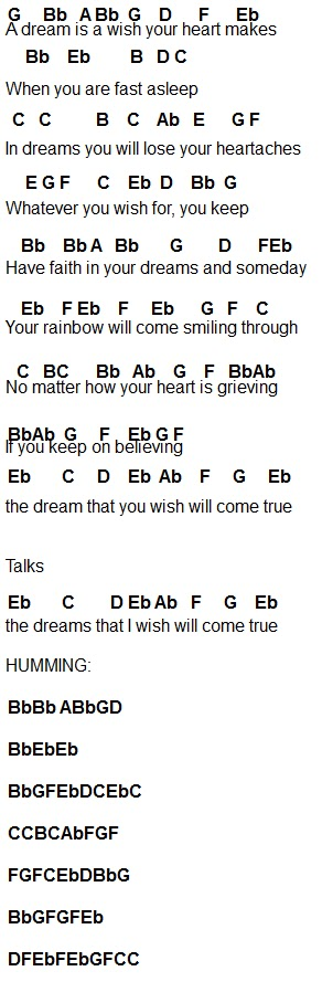 A Dream Is A Wish Your Heart Makes Flute Sheet Music Dream01 Bmp 292 908 Pixels With Images Flute Sheet Music Violin Music Flute Music