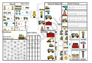 This 9 Page Construction Printable Pack Is A Great Busy Worksheet To Practice Math And Hand Writing Activit Literacy Worksheets Worksheets Construction Theme