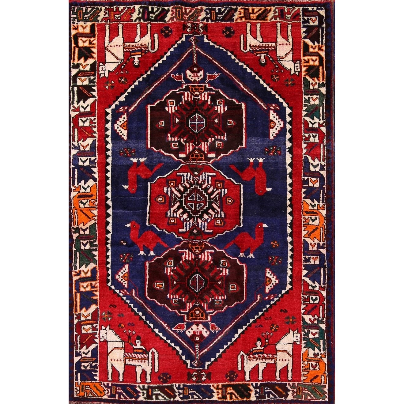 Hand Knotted Woolen Traditional Shiraz Persian Geometric Area Rug 8 1 X 5 6 8 1 X 5 6 Blue Area Rugs Yellow Area Rugs Rugs