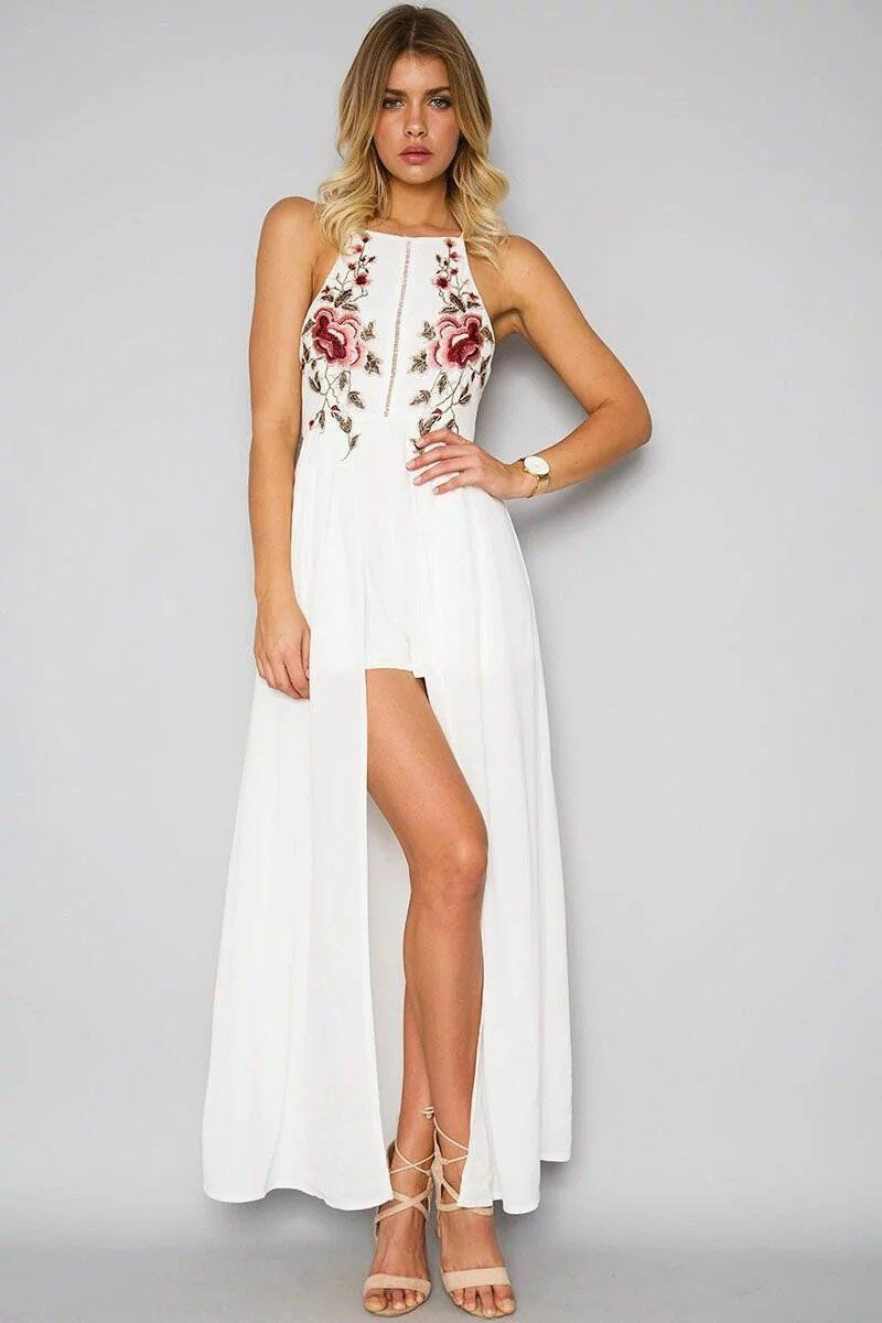 2c238bd834fd Floral Embroidered Halter Neck Maxi Dress Featuring Criss-Cross Open Back