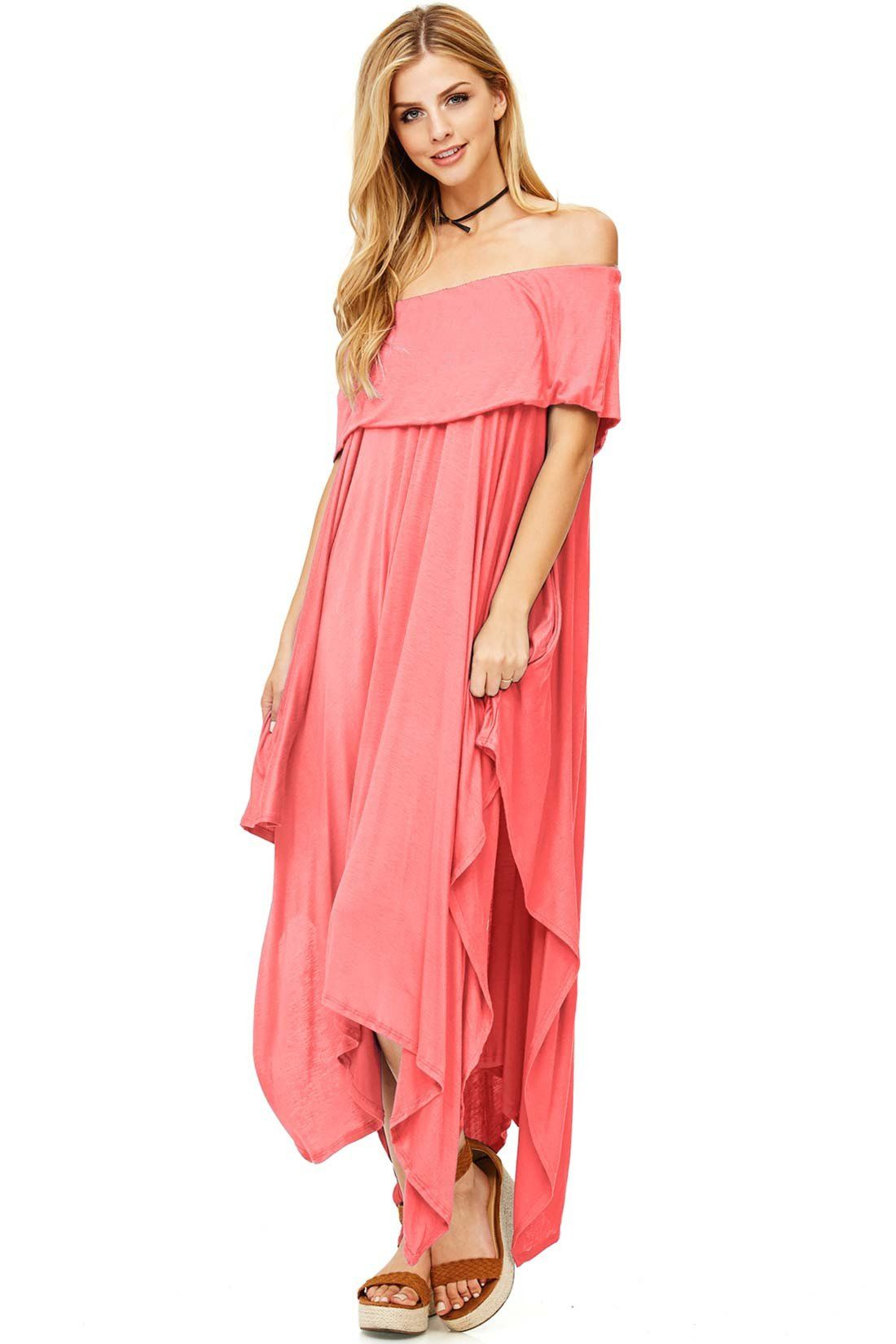 cda9640822b4 Unique dress with an off the shoulder double lined layer and an extreme  asymmetrical hem. Soft light fabric is comfortable and perfect for summer  days.
