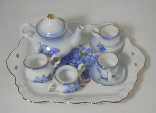 50 Blue Line Hand Paint Coffee cup and Saucer Dollhouse Miniatures Supply Deco