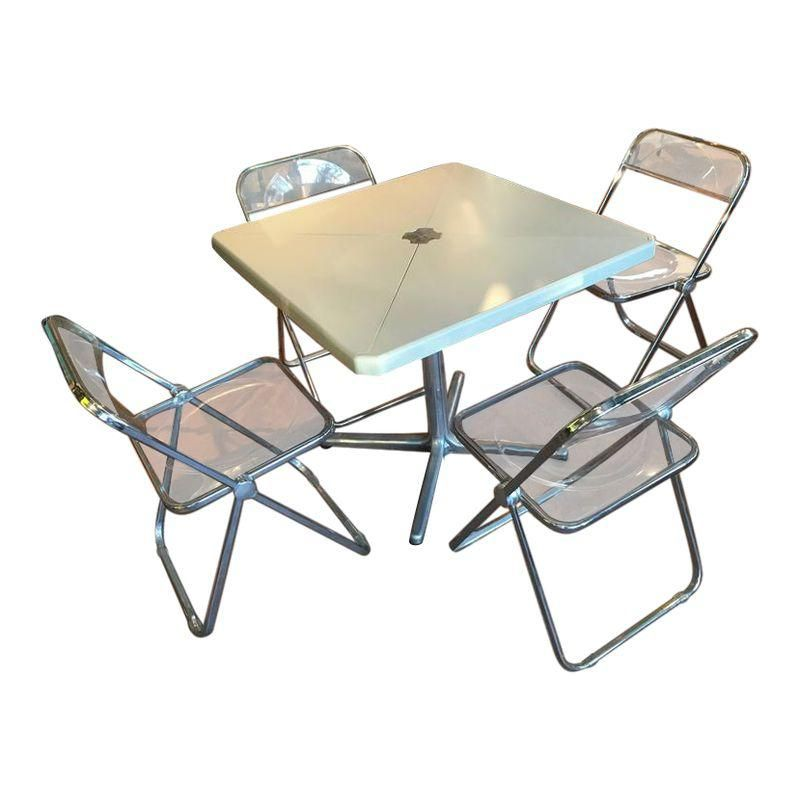 Modern Metal Folding Card Table And Four Plia Chairs By Piretti