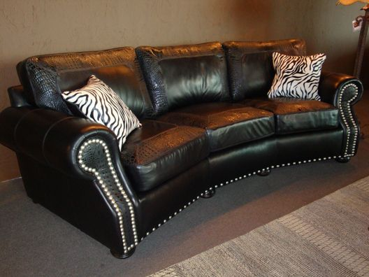 Tremendous Angled Sofa With Black Leather Accented With Crocodile Caraccident5 Cool Chair Designs And Ideas Caraccident5Info