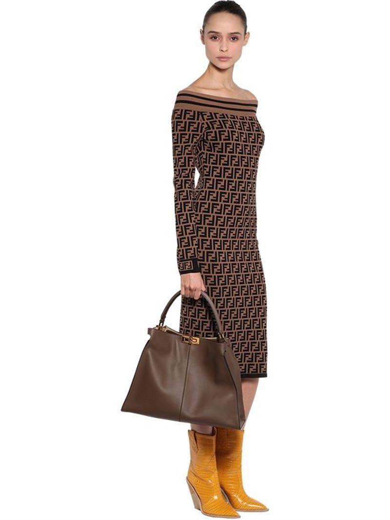 06d241f1823 Fendi | Peekaboo X-Lite Bag w/Logo - Brown, 4500 ...