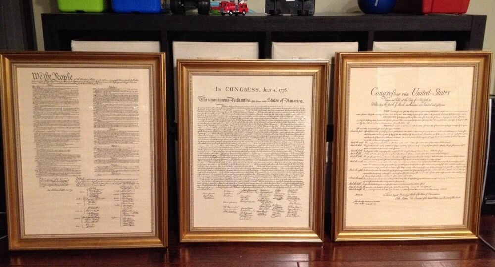 3 LARGE Framed Parchment US CONSTITUTION BILL OF RIGHTS DECLARATION INDEPENDENCE