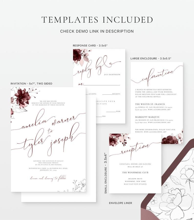 Burgundy and wine wedding invitations with silver florals