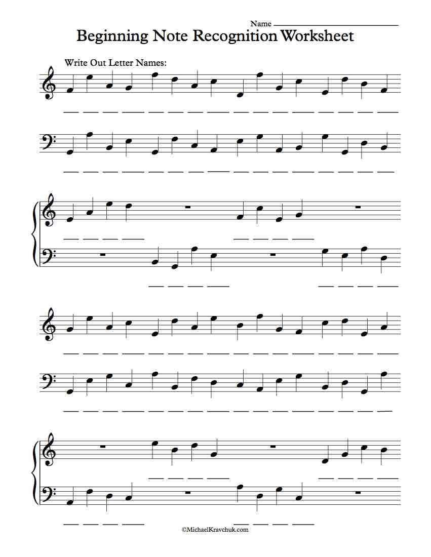 worksheet Guitar Worksheets For Beginners free beginning note recognition worksheet sub plans pinterest worksheet