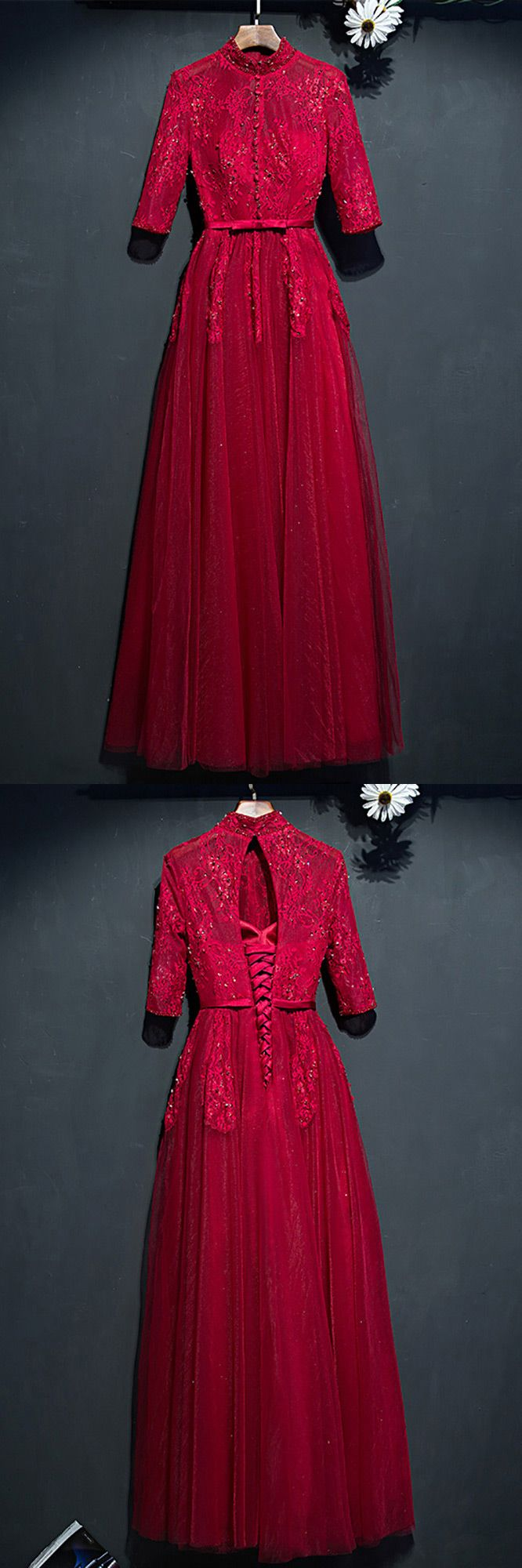 Unique high neck burgundy long party dress with lace sleeves