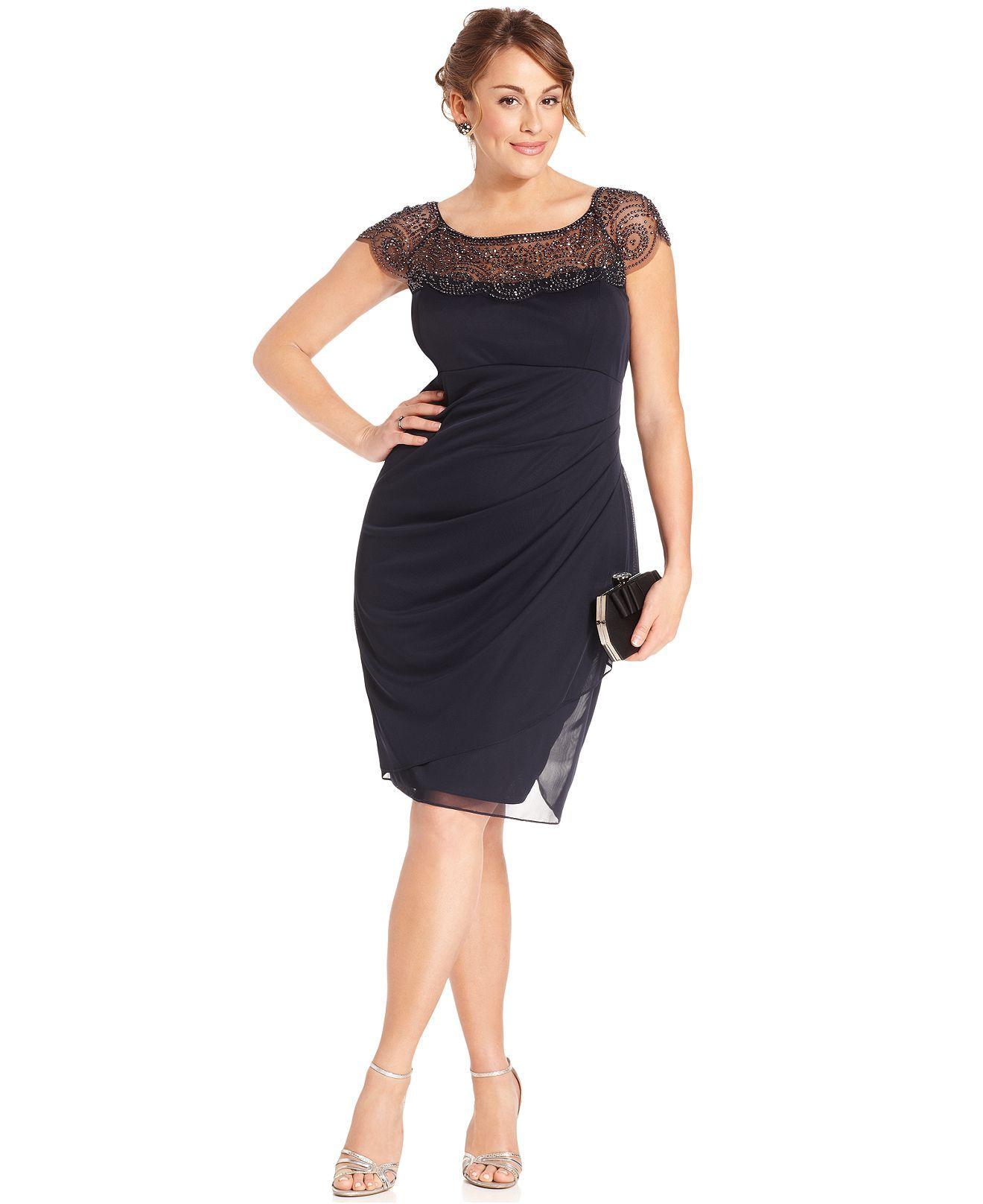 Xscape Plus Size Dress, Cap-Sleeve Beaded - Plus Size ...